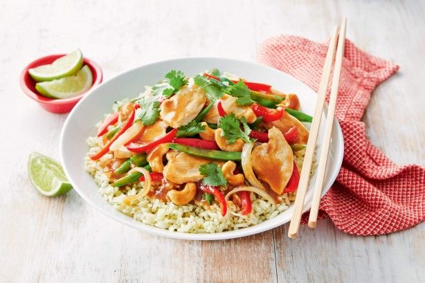 Dinner can be ready in just under half an hour with this speedy chicken stir-fry.