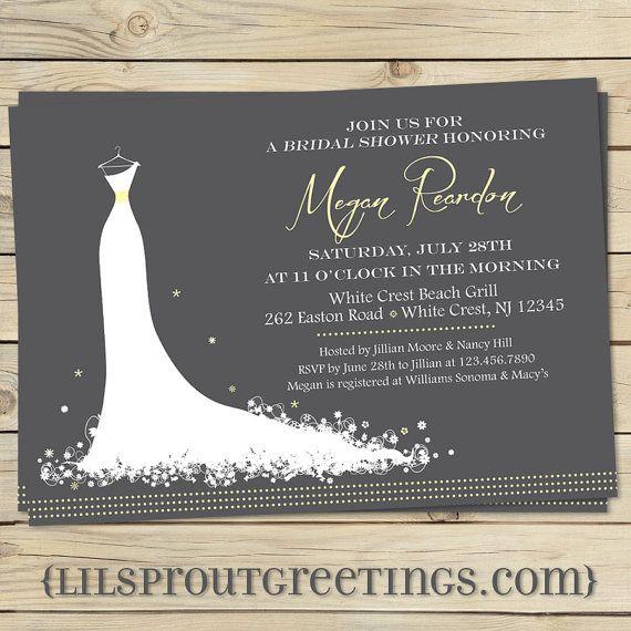 Elegant bridal shower invitation modern bridal shower for Modern bridal shower invitations
