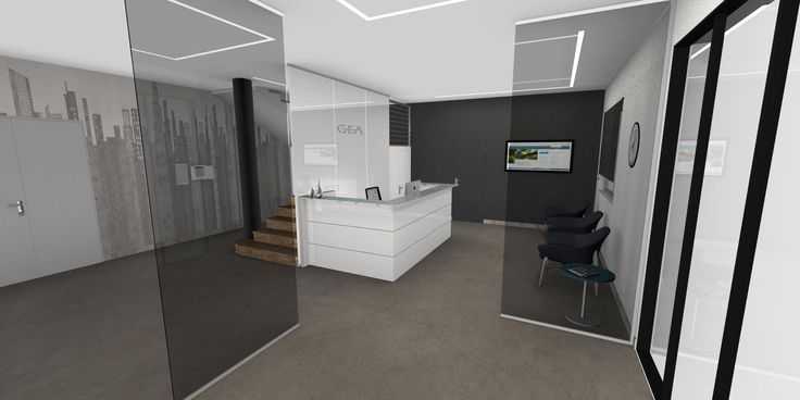 Modern interior design - Reception white with white glass top, fumè and white lacquered glass partitions, black leather armchairs with coffee table, anthracite wall, marble stairs, led on the ceiling, grey resins floor - Reception bianca con mensola in vetro bianco, pareti in vetro fumè e bianche retrolaccate, poltrone in pelle antracite e tavolino, parete antracite, scale in marmo, len incassati a soffitto, pavimento in resina grigia