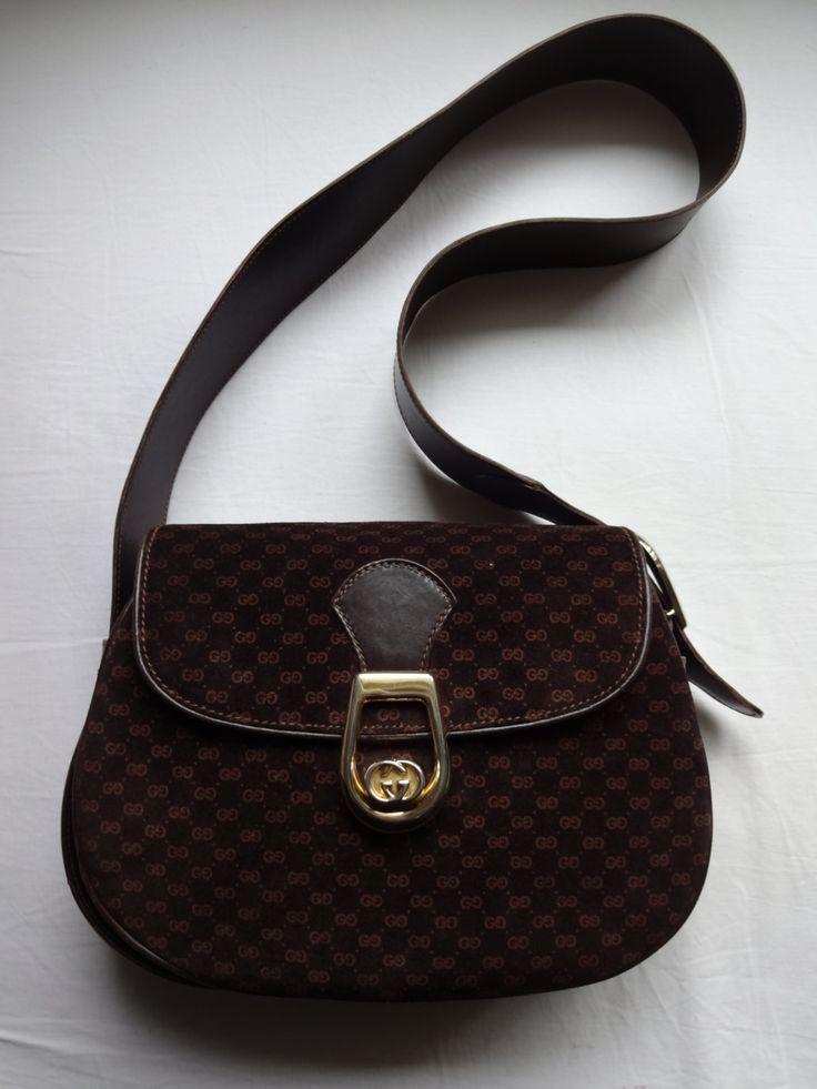 Authentic vintage Gucci suede and leather shoulder bag di Leschosesdemanu su Etsy