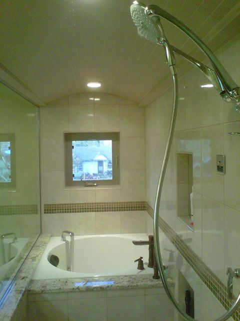 A Small Japanese Soaking Tub Is Right At Home In This Beautiful Steam Shower  .