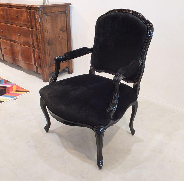 Louis XV Carver - Black Lacquered in Rene 'Noir'