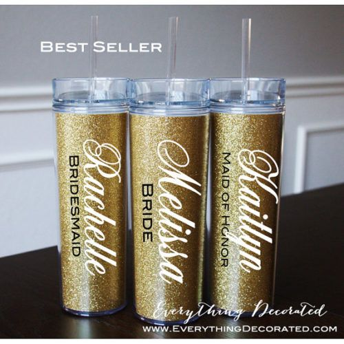 Skinny Gold Glitter Tumbler Bridesmaid gifts wedding favors