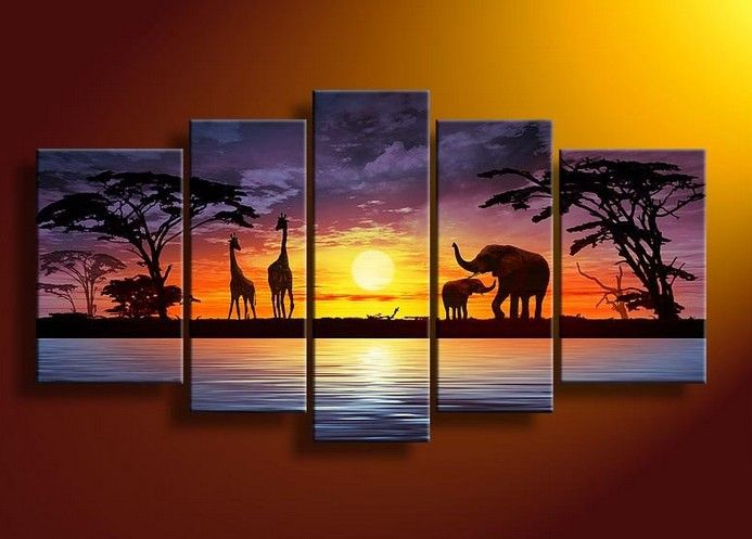 5040 Handpainted 5 Piece Abstract Oil Painting On Canvas Wall Art African Scenery Sunset Picture For