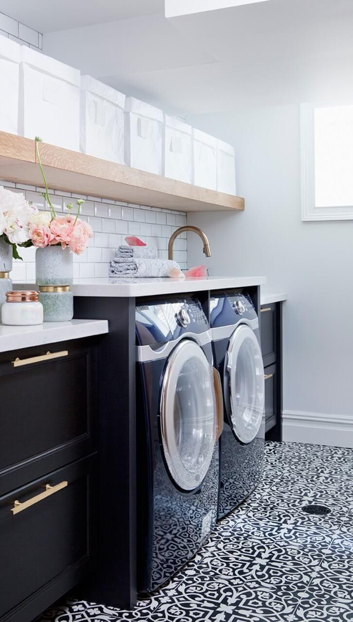 Black, White, Pink Laundry Room