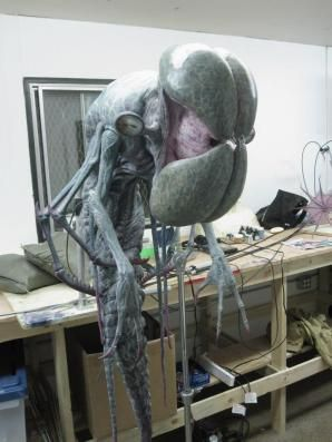 The Alien animatronic without the mandible tendons.