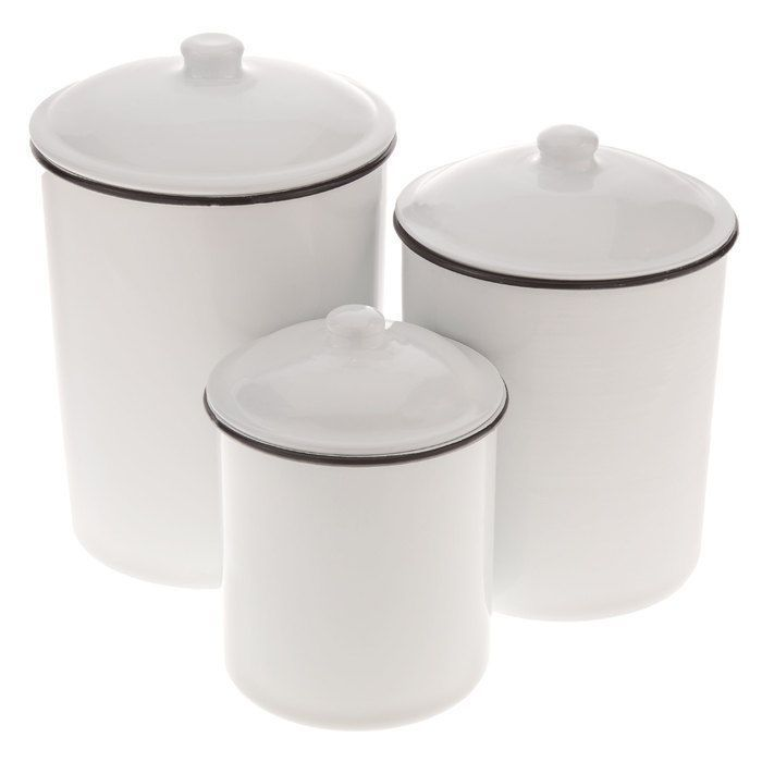 Country Kitchen Canister Set 3 Metal Enamel Farmhouse Style ...