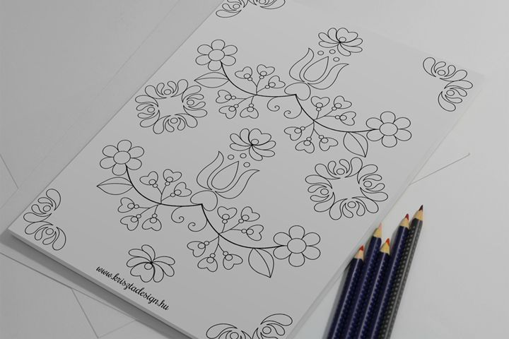 COLORING PAGES WITH HUNGARIAN FLORAL MOTIFS free downloadable version page