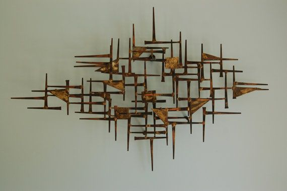 Mid Century Modern Brutalist Nail Art Wall Hanging Sculpture - SOLD!