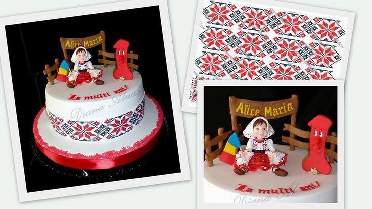 Micuta romancuta creata de Cake Art by Diana Aluaş #printuri pe coli din pasta de zahar https://decoratiunidulci.ro/folcloric  SURSA: https://www.facebook.com/Cakes.Diana/