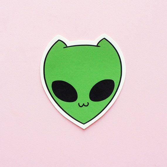 Alien Cat • Hand Cut Sticker by thepinksamurai on Etsy, $2.00