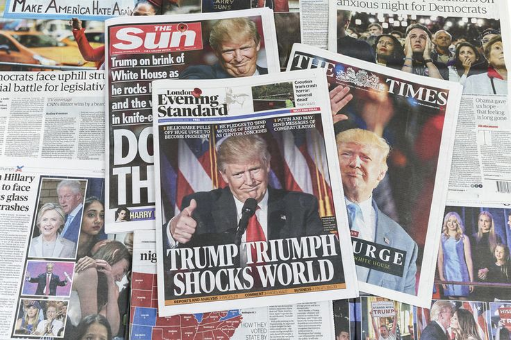 Photos of the Week: 11/5–11/11 - The AtlanticUK newspapers The Sun, The Times and The Evening Standard feature Donald Trump's victory in the US Presidential elections on their front pages on November 9, 2016 in London, England.