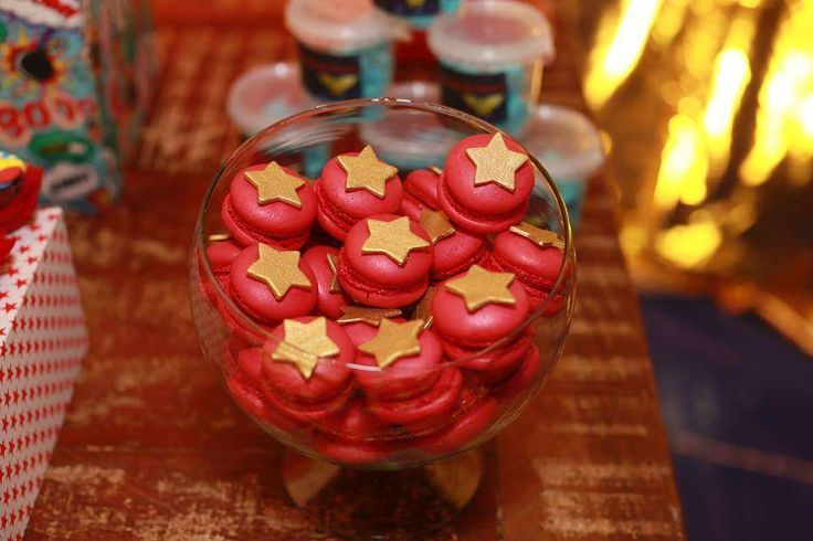 Star topped macarons at a Wonder Woman birthday party! See more party ideas at CatchMyParty.com!