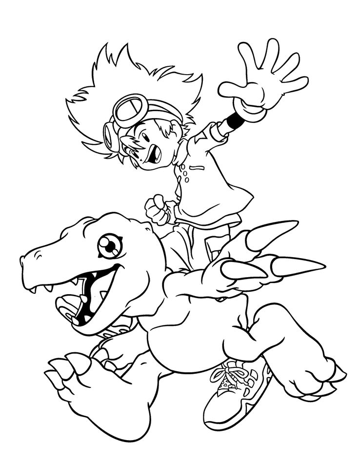 Manga Digimon coloring pages for kids printable free