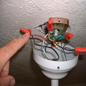 A photo of ceiling fan wiring and connections. - Timothy Thiele