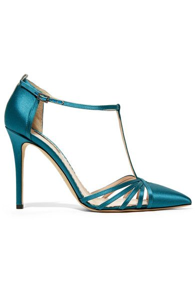 Heel measures approximately 100mm/ 4 inches Petrol satin Buckle-fastening ankle strap Designer color: Hamilton Made in Italy