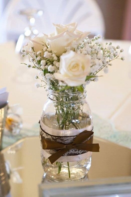 Rustic Country Mason Jar Centerpiece by HomemadeWithLoveWed, $10.00-add tartan ribbon instead