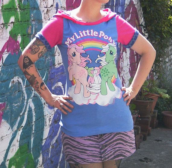 My Little Pony short sleeved up-cycled hoodie 32-34 by hellbabies