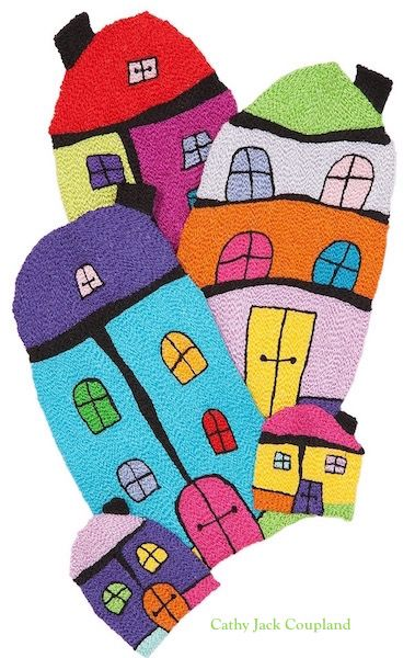 First ever Happy Houses.  Free machine embroidery using rayon and polyester threads. Image used by Expertise Events to promote Craft Shows across Australia.