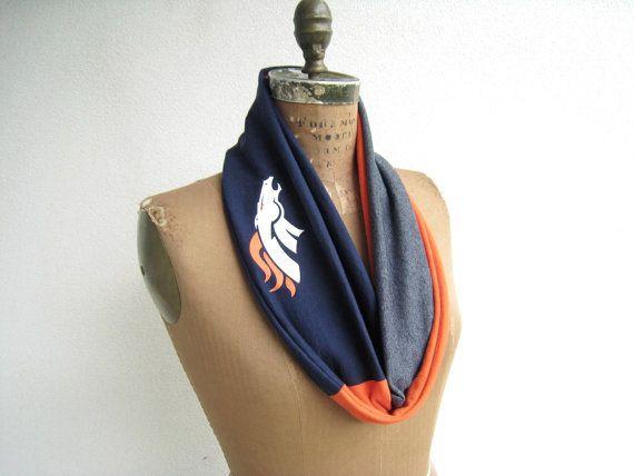 Denver Broncos T Shirt Infinity Scarf / Orange Gray Navy by ohzie