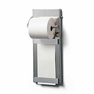 Papierrollenhalter geeignet für die Kassenrollen oder die Rollen für Rechenmaschinen.    Will hold office paper rolls of up to 4.5 cm in diameter and up to 7.5 wide. Comes with one paper roll. Stainless steel. Height 28.5 cm, width 11.5 cm, depth 3.5 cm. Steel paper holder 6 mm in diameter