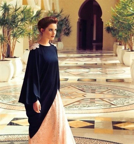 This abaya is so unique and flattering! I love the rich navy over the light lace
