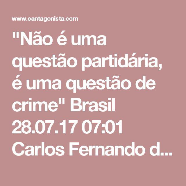 """""""Não é uma questão partidária, é uma questão de crime""""  Brasil 28.07.17 07:01 Carlos Fernando dos Santos Lima também falou à Folha sobre o acordo de delação premiada da JBS. Ele disse que teria feito o acordo, mas com mais calma -- e que houve dano à imagem da Lava Jato, com a força-tarefa de Curitiba tendo de responder sobre uma iniciativa de Brasília: """"Temos dois fenômenos: a partir do momento em que as investigações passaram para o PMDB, as pessoas perguntaram: espera aí, não é só o PT?…"""