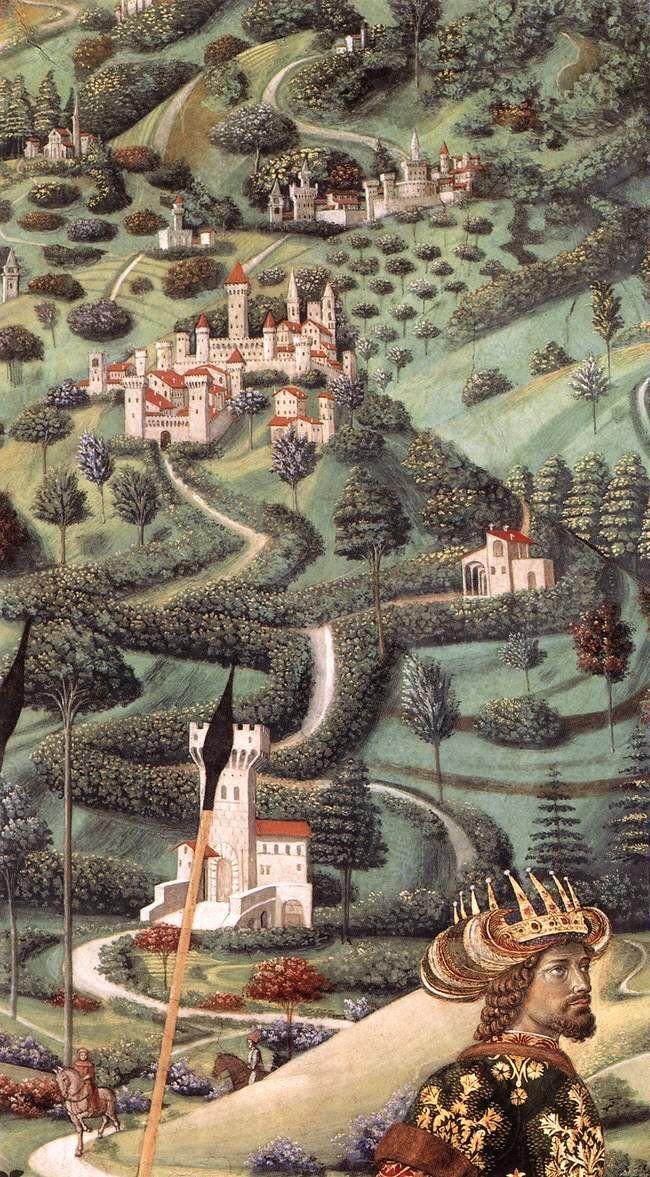 GOZZOLI-Benozzo-ProcessionoftheMiddleKing-detail-1459-60-Fresque-Chapelle-PalazzoMedici-Riccardi-Florence.jpg 650×1177 pixels