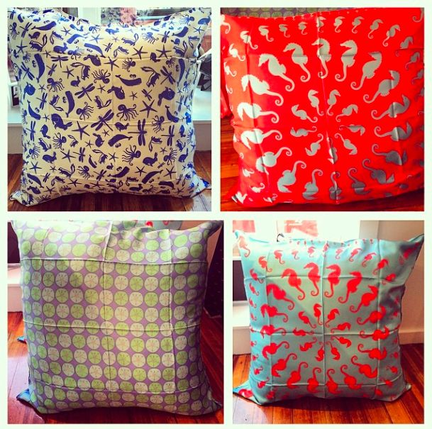 Just In! 34x34 Inch Silk Pillows Hand Crafted In Cape Cod MA. In Store