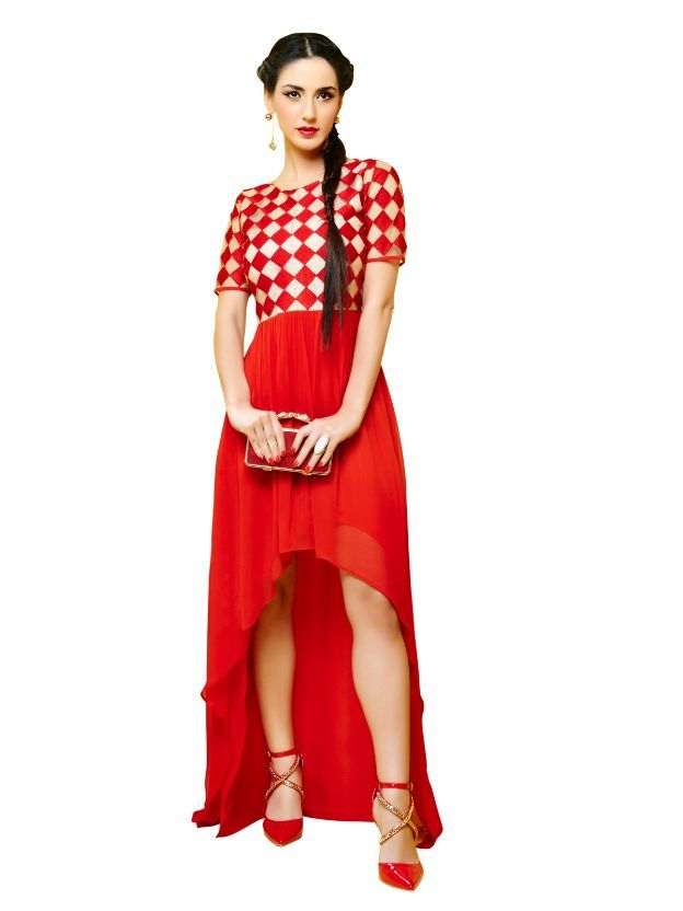 Red & Cream and Net & Georgette Kurti