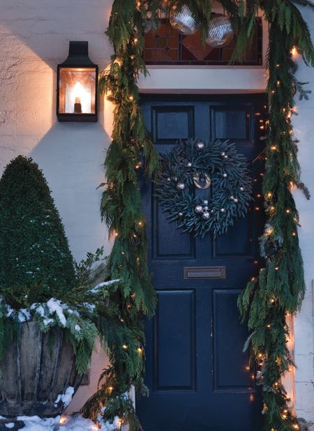 House & Home - add some arborvitae or cedar to the pre lit garland I have. Need urns!!