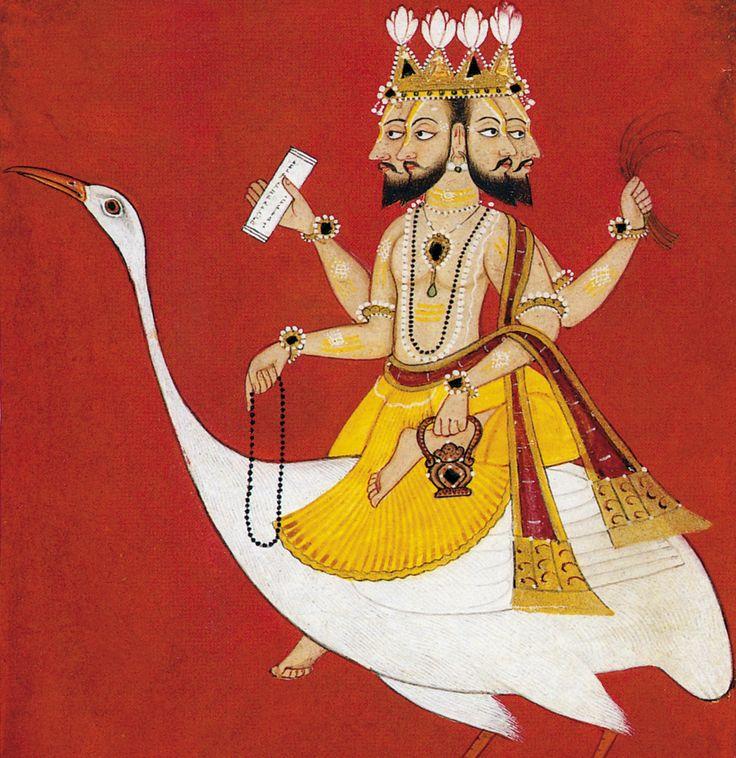 Brahmā .  possiede quattro volti (catur-ānana) con cui controlla tutto il cosmo e rappresentano l'onniscienza. La cavalcatura è l'Haṃsa, la sapiente oca in grado di discernere l'acqua dal latte. Regge un contenitore che contiene l'acqua del fiume Gange, a significare che l'origine del cosmo risiede nelle acque; il rosario raccoglie le perle del tempo; anche il tamburo a forma di clessidra ḍamaru) sta a significare il  battere del tempo . La barba lo rappresenta come Pitāma (grande padre)