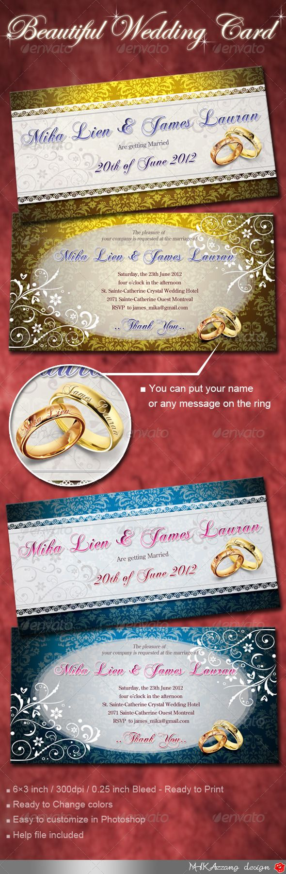 227 best Wedding Invitation Card Templates images on Pinterest ...