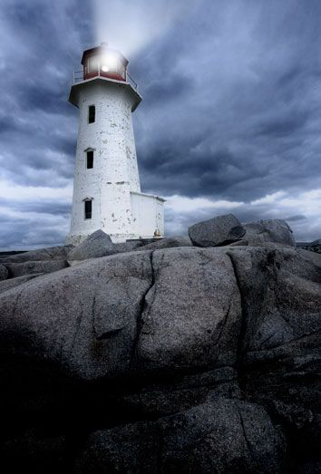 #lighthouse at Peggys Cove in Nova Scotia, #Canada at dusk as a storm grows. http://www.roanokemyhomesweethome.com