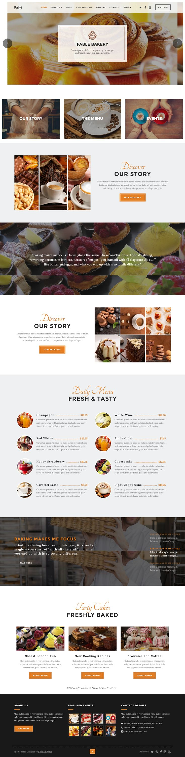 Fable is a premium WordPress theme, designed for food, #bakery, cafe, pub & restaurant #websites. It comes in 4 stunning homepage layouts.