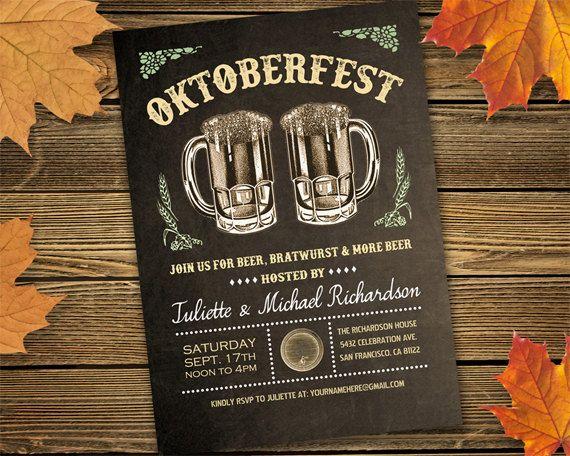 Oktoberfest Invitations v.5 | Rustic Vintage Oktoberfest Party Printable Invitations | Brown or Black | Digital File Download