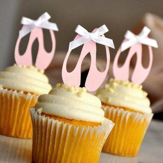 Ballerina Birthday Decorations Pink and Gold Ballerina Party Decorations 12+CT Ballerina Shoe Cupcake Toppers