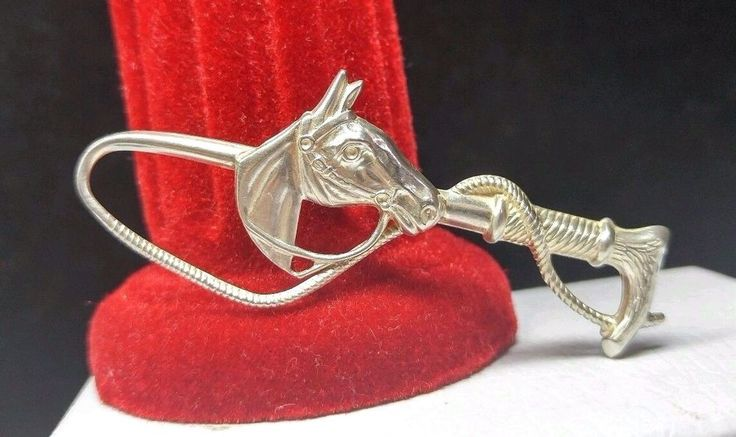 Vintage Sterling Silver 925 B-Ster  Western Cowboy Horse Head & Whip Brooch Pin