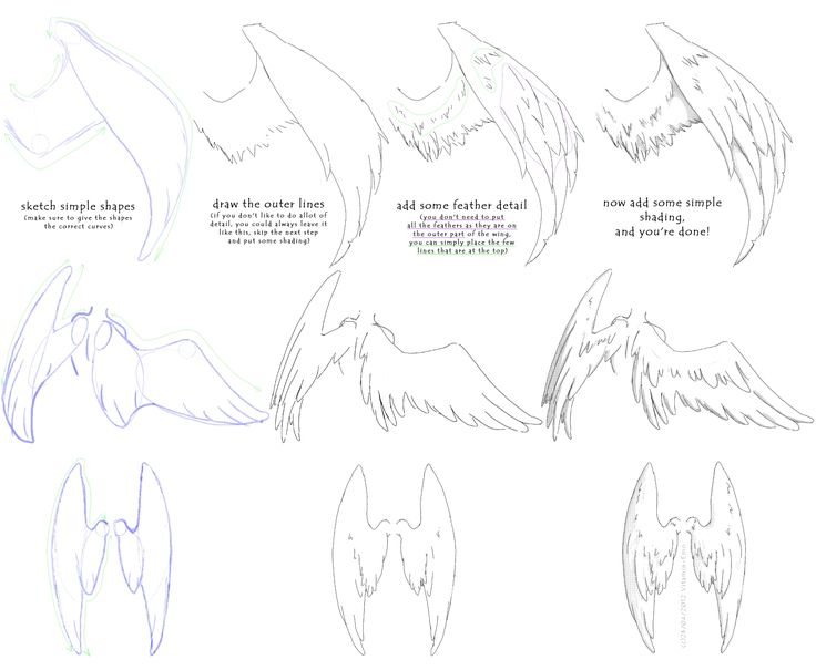manga angel wings tutorial #1 by ~Vitamin-Emo  Thought this looked like a helpful wing tutorial.