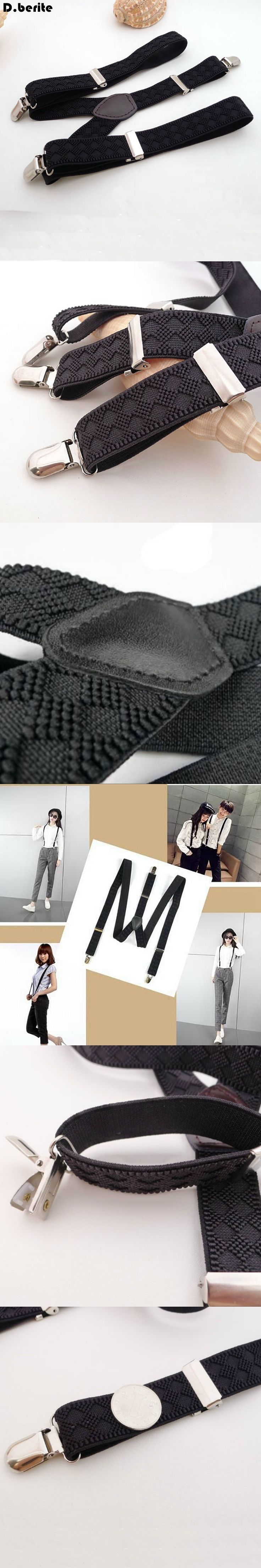 Casual Mens Black Braces Unisex Adjustable Clip-on Suspenders Clip Braces Adult Belt Strap For Wedding Party BDXJ2514