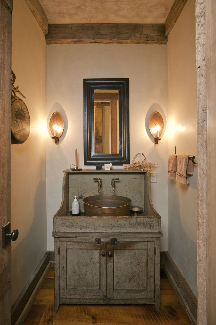 Classic Reclaimed Wooden Bathroom Vanity With Round Pottery Sink As Well As  Black Mirror Frames Also Double Wall Light Fixtures As Small Rustic  Bathrooms ...