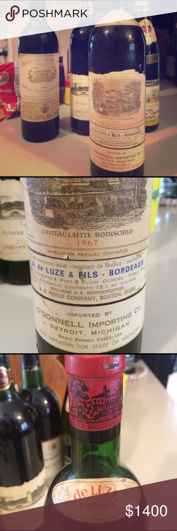 NEVER OPENED!🍷 1967 Château Lafite-Rothschild RED RARE RED WINE! AGED SINCE 1967! NEVER OPENED! VALUED AT $1200! IMPORTED From FRANCE! Mis En Boutilles Au Chateau AUTHENTIC! IF ANY QUESTIONS CONTACT brownlauren31@yahoo.com for SINCERE INQUIRIES ONLY! WILL DELIVER ONLY TO RESIDENTS OF MICHIGAN! DELIVERY ONLY! Chateau Lafite-Rothschild Other