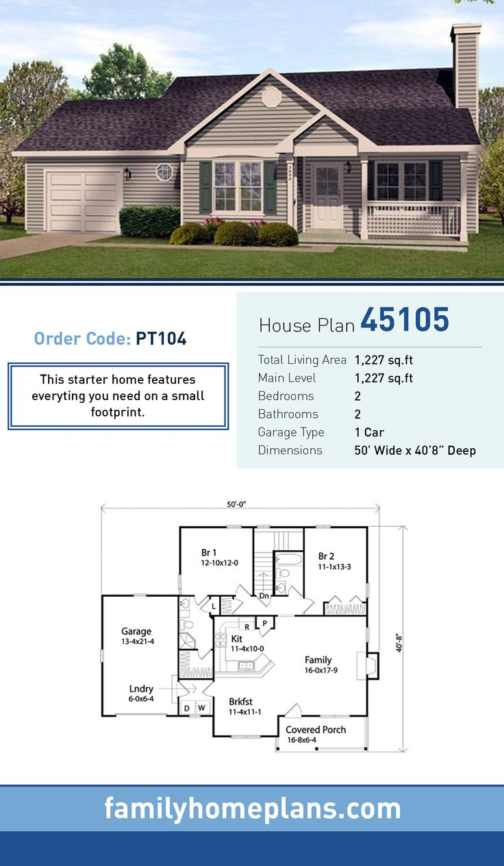 Starter home plan 45105 total living area 1 227 sq ft for How big is a two car garage square feet