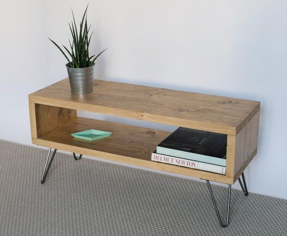 Emily Reclaimed Wood TV Stand | TV Cabinet | Hairpin Legs | Light Oak  Finish | Living Room | Side Table