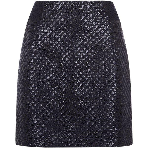 Antipodium Raffia Mesh Pencil Skirt ($375) ❤ liked on Polyvore featuring skirts, navy, antipodium, blue skirt, navy pencil skirt, navy blue skirt and knee length pencil skirt