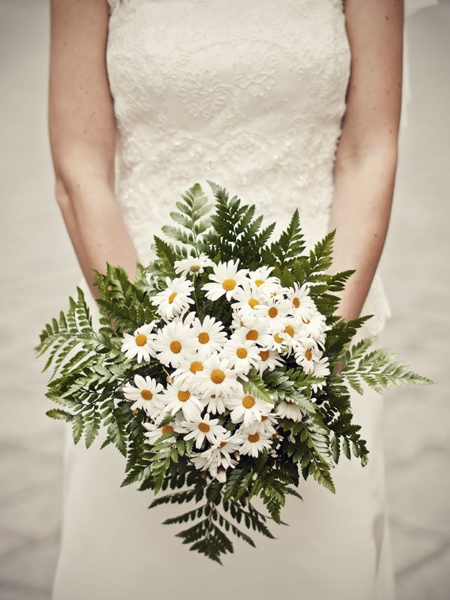 Daisies bouquet ♥....what if there were some yellow baby's breath or yellow rice flower in this?