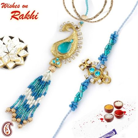 Picture of Paisley design Bhaiya Bhabhi Rakhi pair