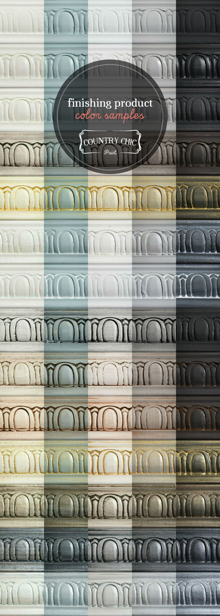 Need help choosing a furniture finishing product? Take a look at all of the beautiful options in the Country Chic Paint line from wax to glaze to metallic creams and more. #countrychicpaint - www.countrychicpaint.com/pages/sample-finishes