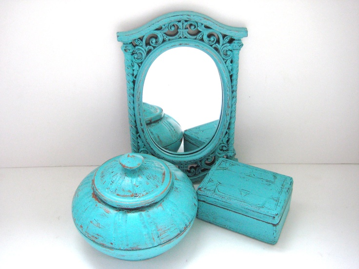 turquoise home decor mirror container box shabby chic distressed 5000 via etsy