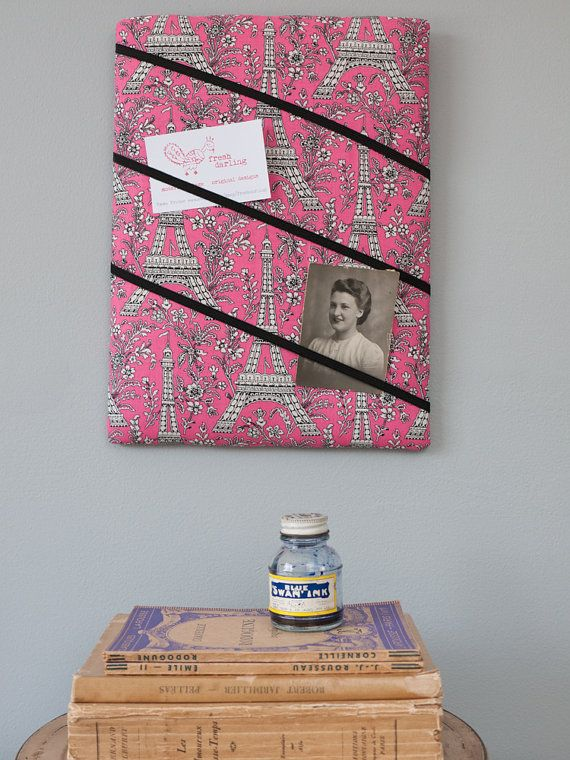 Pink Eiffel Tower Paris handmade fabric by freshdarling on Etsy